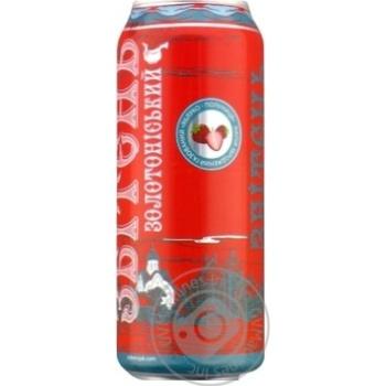Напиток сброженный газированный Сбитень Золотоношский Яблоко-Клубника 5% 500мл - купить, цены на Novus - фото 1