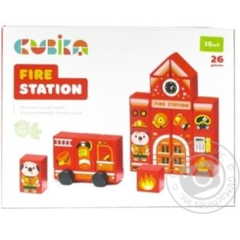 Cubika Wooden Constructor Fire station 26pcs. - buy, prices for MegaMarket - image 1